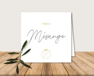 nom de table mariage kraft chic