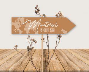 Nom de table panneau de direction original inspiration décoration mariage automne