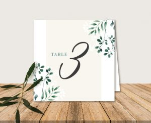Nom de tables mariage blanc et végétal chic