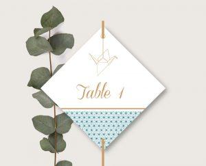 Nom de tables mariage chic thème origami japon et grues bleu et or