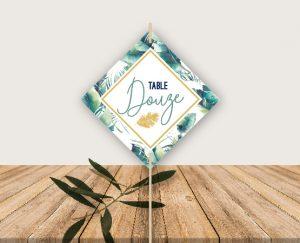Panneau nom de tables mariage thème tropical chic