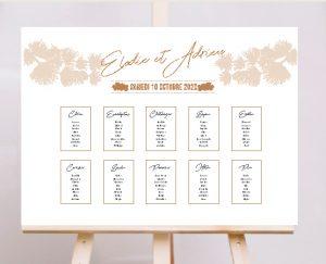 Plan de table affiche original inspiration décoration mariage automne