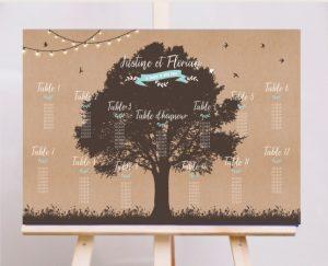 plan de table mariage arbre champetre