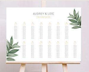 Affiche plan de tables mariage kraft chic