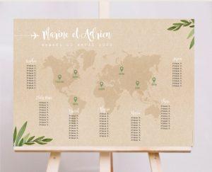 Plan de tables mariage thème voyage