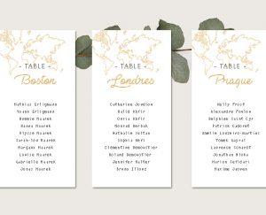 Kit fiche plan de tables Nom de table mariage thème voyage