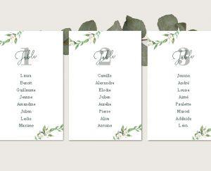 escort cards mariage couronne de fleurs