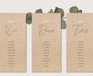 Kit fiches plan de tables mariage kraft chic