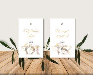 Escort cards plan de tables Nom de table mariage thème voyage