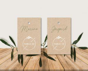 Escort cards mariage kraft chic