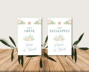 Plan de table mariage thème bohème chic à fleurs