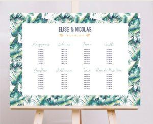 Affiche plan de tables mariage thème tropical chic