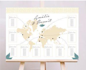 plan de tables mariage folk chic or et vert fougeres