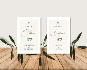 Escort cards mariage blanc et végétal chic
