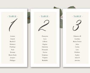 Kit fiches plan de tables mariage blanc et végétal chic