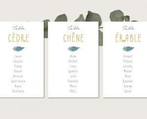 Kit fiches plan de tables mariage folk chic or et vert fougeres