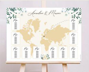 Affiche plan de tables mariage blanc et végétal chic