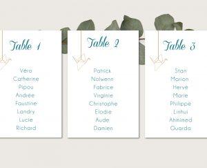 Plan de tables mariage chic thème origami japon et grues bleu et or