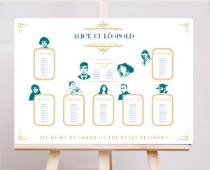 plan de table peaky blinders mariage et faire-parts gatsby