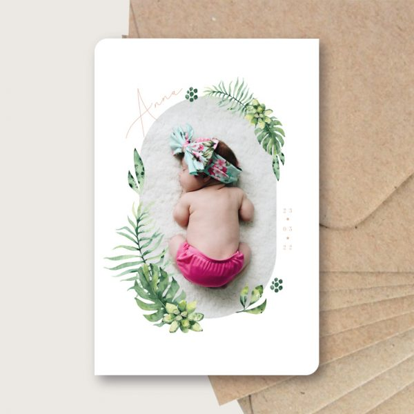 faire-part-naissance-bébé-tropical-original-couronne-vegetale