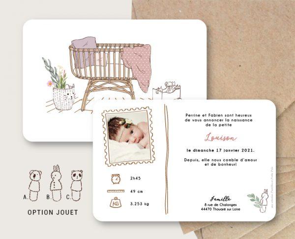 faire-part naissance simplicité dessin babyroom chambre rotin original