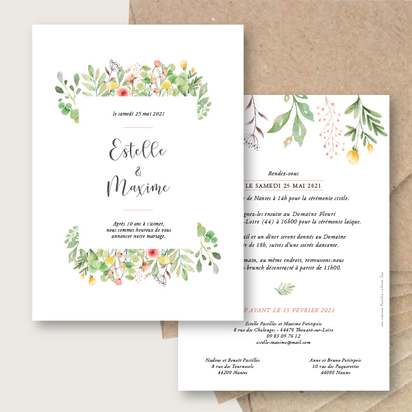 Faire-part de mariage Botanique frais, chic et élégant