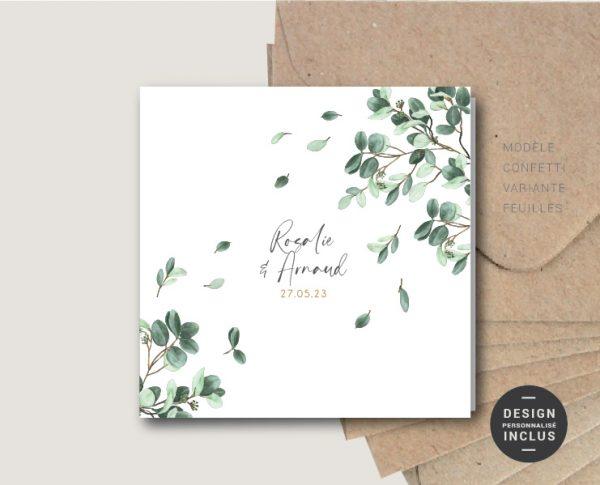 faire-part mariage confetti frais original carte carré