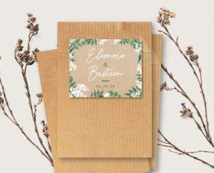 Inspiration étiquette sachet kraft de graines à semer mariage kraft nature eucalyptus et gypsophile