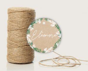Inspiration étiquette cadeau invité mariage kraft nature eucalyptus et gypsophile
