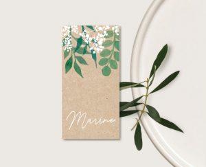 Inspiration marque place mariage kraft nature eucalyptus et gypsophile
