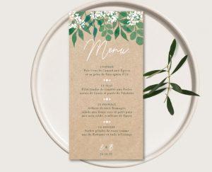 Inspiration menu individuel mariage kraft nature eucalyptus et gypsophile