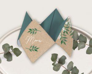 Inspiration livret de cérémonie mariage kraft nature eucalyptus et gypsophile