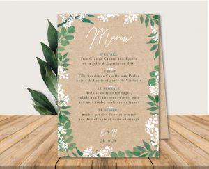 Inspiration menu de table mariage kraft nature eucalyptus et gypsophile