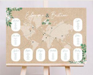 Inspiration affiche mappemonde plan de tables mariage kraft nature eucalyptus et gypsophile