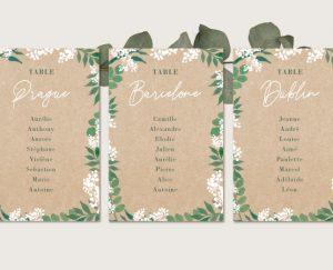 Inspiration kit fiches plan de tables mariage kraft nature eucalyptus et gypsophile