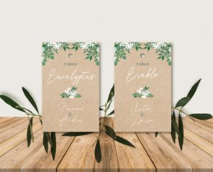 Inspiration plan de tables escort cards mariage kraft nature eucalyptus et gypsophile