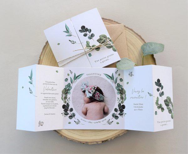 faire-parts naissance créatif et original petite graine avec feuilles écoresponsable