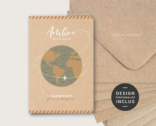 faire-part naissance passeport voyage original