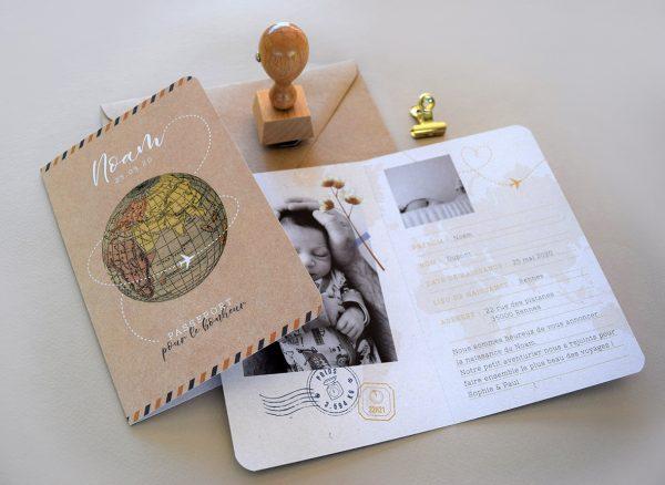 faire-parts naissance passeport bébé mixte thème voyage ecoresponsable