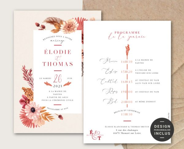 faire parts mariage automne chic fleurs seches