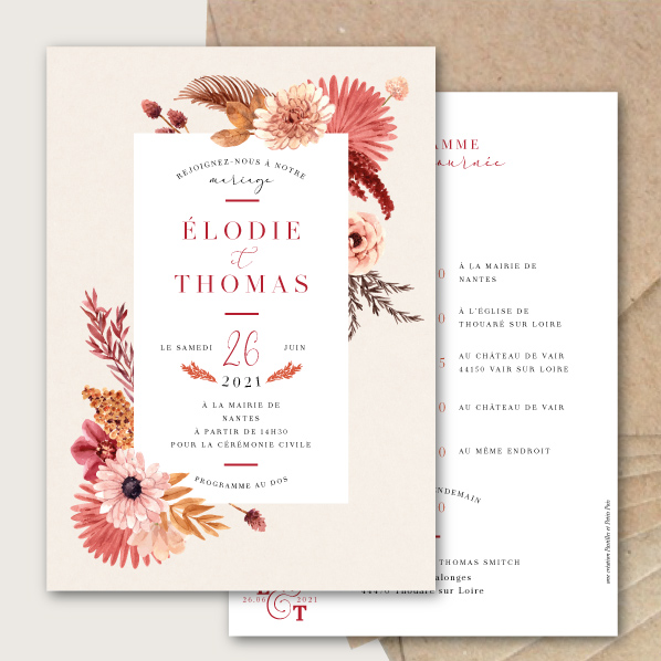faire parts mariage automne bohème chic fleurs seches