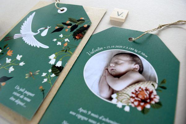 faire parts naissance cigogne chic et fleurs