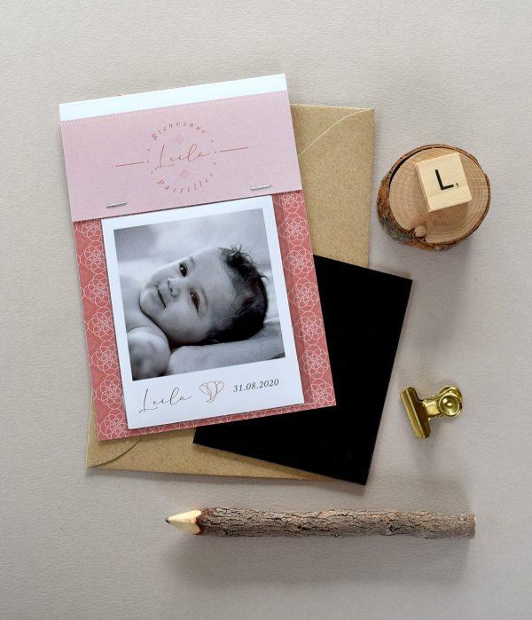 faire parts naissance polaroid magnet oriental rose