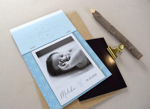 faire parts naissance polaroid magnet oriental bleu