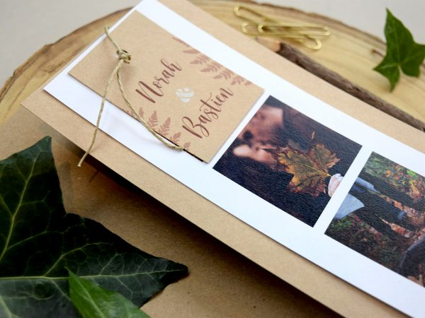 faire parts mariage photomaton marque page kraft chic