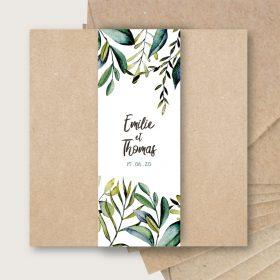 faire part mariage kraft chic eucalyptus olivier original