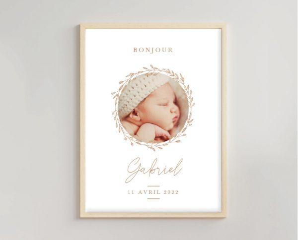 Affiche déco naissance assortie au faire-part