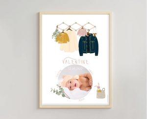 Affiche déco naissance assortie faire-part