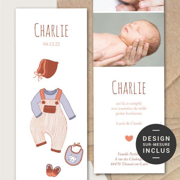 faire-parts naissance petits chaussons dessins retro original marque-page