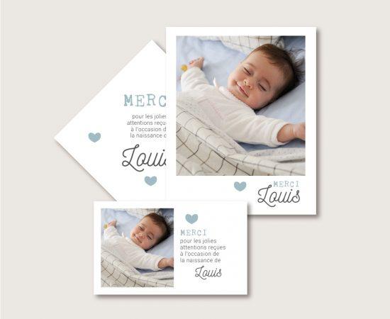 carte remerciement naissance bébé personnalisable papier et magnétique